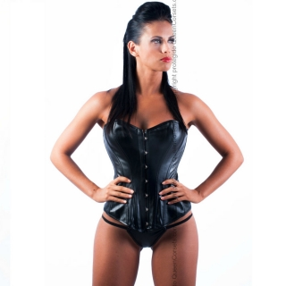 QUEEN CORSETS OBSIDIANA LEATHER NEGRO SIZE L